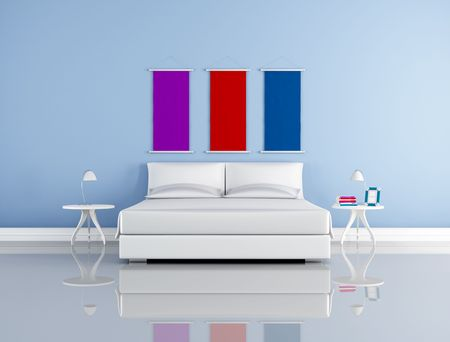 bed frame: minimalist blue bedroom with simple white double bed bedroom-rendering