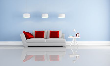 modern couch with cushion in a blue minimalist interior-rendering photo