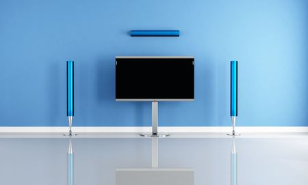 minimalist blue home theater white futuristic speaker - rendering photo