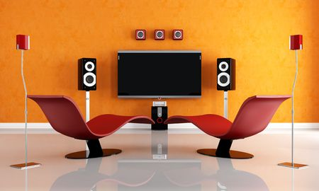 home entertainment: modern home theater with two fashion armchair - rendering Stock Photo