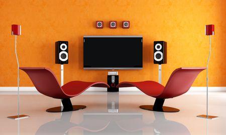 home theater: moderni home theater con due moda poltrona - rendering Archivio Fotografico