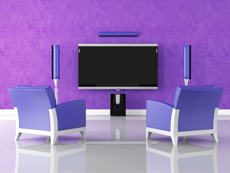 home theatre: modern purple home theater with armchair - rendering