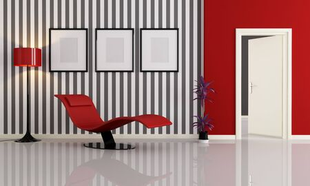 red modern chaise longue in a minimalist living room-rendering Stock Photo - 8148928