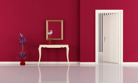 white classic consolle in a red home entrance - rendering photo