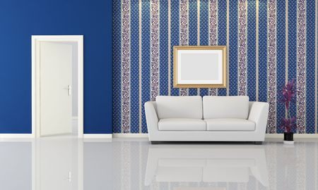 white modern sofa in front a classic wallpaper - rendering photo