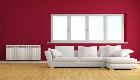 warm water: moderne woonkamer met witte sofa en warm water radiator