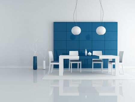 minimalist blue dining room with modern table and chair - rendering photo