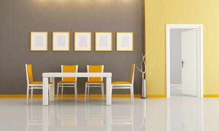modern dining room: brown and orange modern dining room - rendering