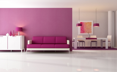 carpet flooring: contemporary living room with dining space - rendering - the art work on wall is a my composition Stock Photo