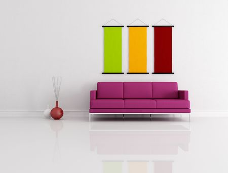 purple modern couch in white lounge - rendering photo