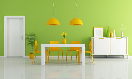 contemporary dining room with white table and orange chairs - rendering Stock Photo - 8208407