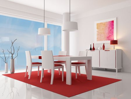 white and red modern living room - rendering -  the art work on wall is a my composition photo