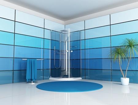 cabine de douche: Salle de bain moderne avec cabine douche et panneau bleu - rendu  Banque d'images