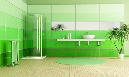 bathroom wall: modern bathroom with cabin shower and sink - rendering