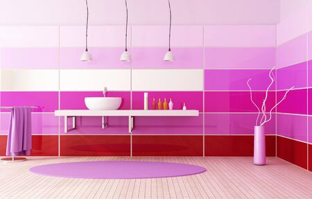 red  purple and pink contemporary bathroom photo