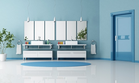 blue contemporary bathroom with double contemporary sink and door - rendering Stock Photo - 8294553