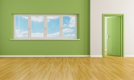green modern empty room with door and windows - rendering - the image on background is a my photo