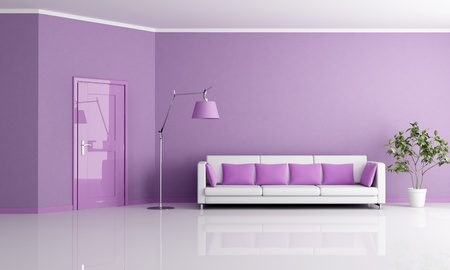 lilla: minimalist lilla living room with door and couch - rendering
