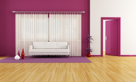 modern living room with white couch and purple wall - rendering Stock Photo - 8294550