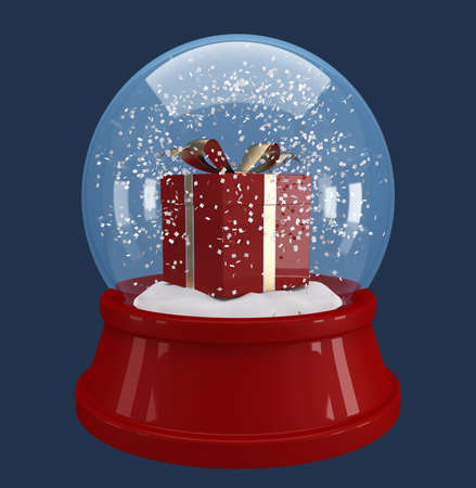 red gift box in a snow globe on blue background   photo