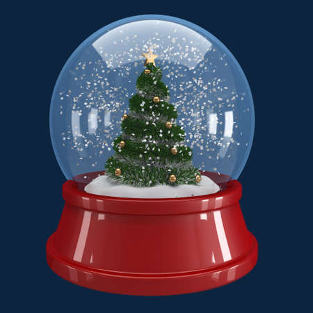 christmas tree in a snow globe on blue background  photo
