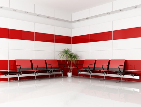 modern red and white waiting room - rendering Stock Photo - 8294547