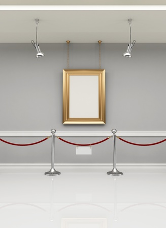 golden empty frame in a museum with barrier rope - rendering photo