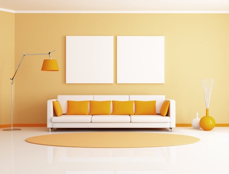 living room minimalist: orange and white minimalist living room - rendering Stock Photo