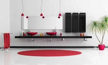 black bathroom: two modern red sink in a minimalist black and white bathroom - rendering