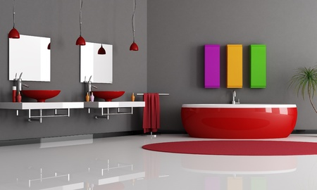 modern black and red bathroom with sink and bathtub photo