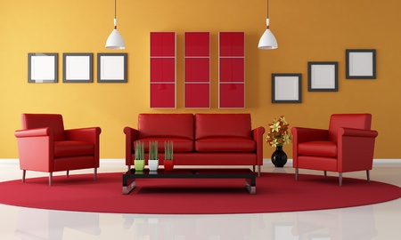 two red armchair and sofa in a contemporary living room - rendering