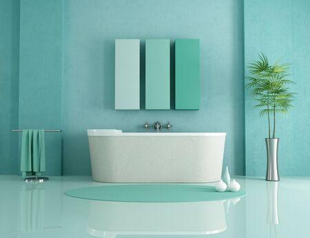 cuarto de ba�o: ba�era de arenisca en la moderna de un cuarto de ba�o de color verde - representaci�n Foto de archivo