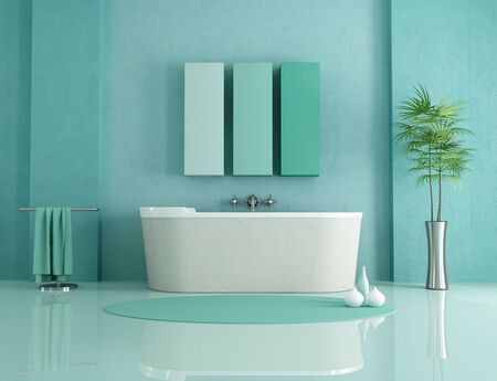 sandstone bathtub in a green modern bathroom - rendering Stock Photo - 8422098
