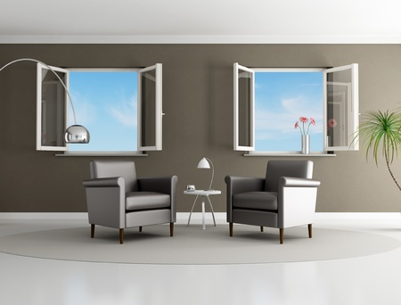 brown modern living room with two armchair and open windows - rendering Stock Photo - 8422095