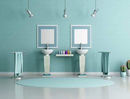 double column sink in a modern bathroom - rendering photo