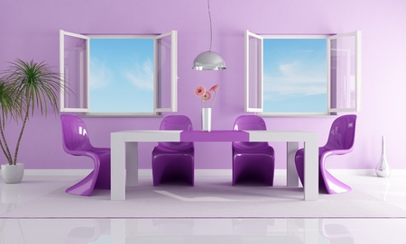 open windows: purple dining room with two open windows Stock Photo