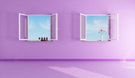 open windows: two open windows in empty a purple living room - rendering