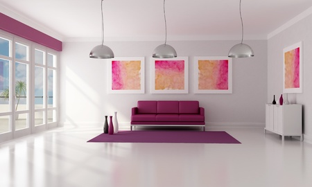 purple and white contemporary  living room - rendering photo