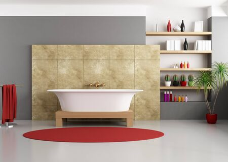 black bathroom: modern bathroom with classic bathtub - rendering Stock Photo