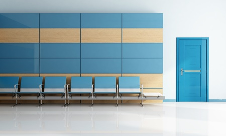 modern blue waiting room with door - rendering photo