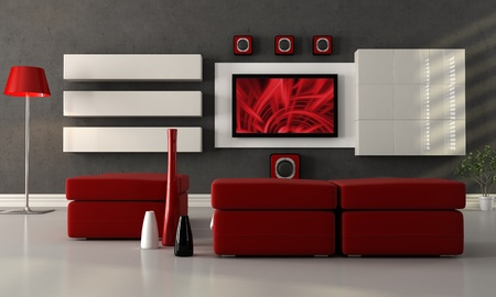 home theater: modern living room with home theater system - the image on screen is a my composition