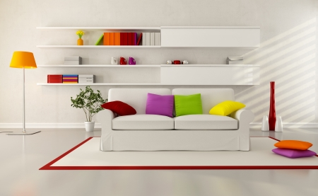 white elegant couch in a modern living room photo