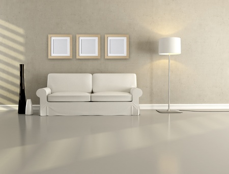 lounge: white elegant couch in a minimalist lounge - rendering