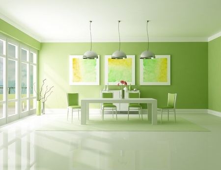 Minimalist green dining room - the art picture on wall are my composition Stock Photo - 8476097