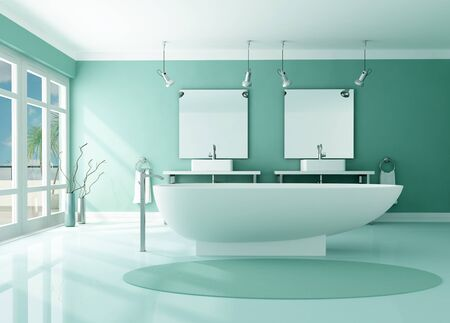 double sink: luxury modern bathroom with fashion bathtub and double sink -rendering Stock Photo