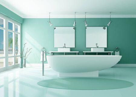 lavabo salle de bain: Salle de bain moderne de luxe avec baignoire de mode et de la double puits - rendu