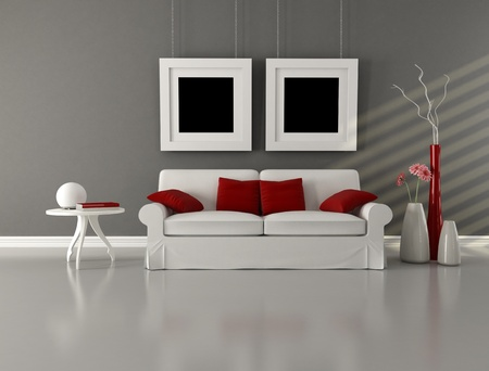 white couch with cushion in minimalist interior - rendering