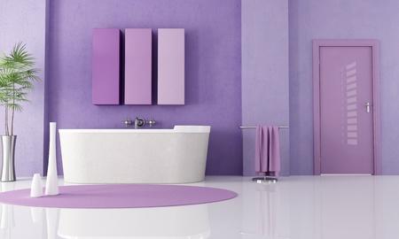 lilla: sandstone bathtub in a lilla bathroom - rendering Stock Photo