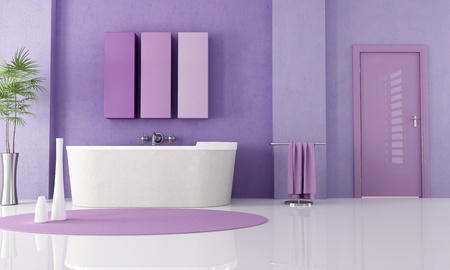 sandstone bathtub in a lilla bathroom - rendering Stock Photo - 8476103