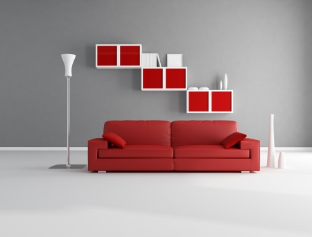 Red and gray minimalist living room - rendering photo